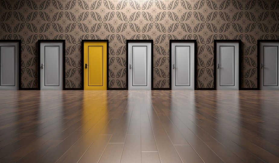 Several white doors and a yellow one; Magda Tabac; PCM Training; PCM Trainer; Process Communication Model