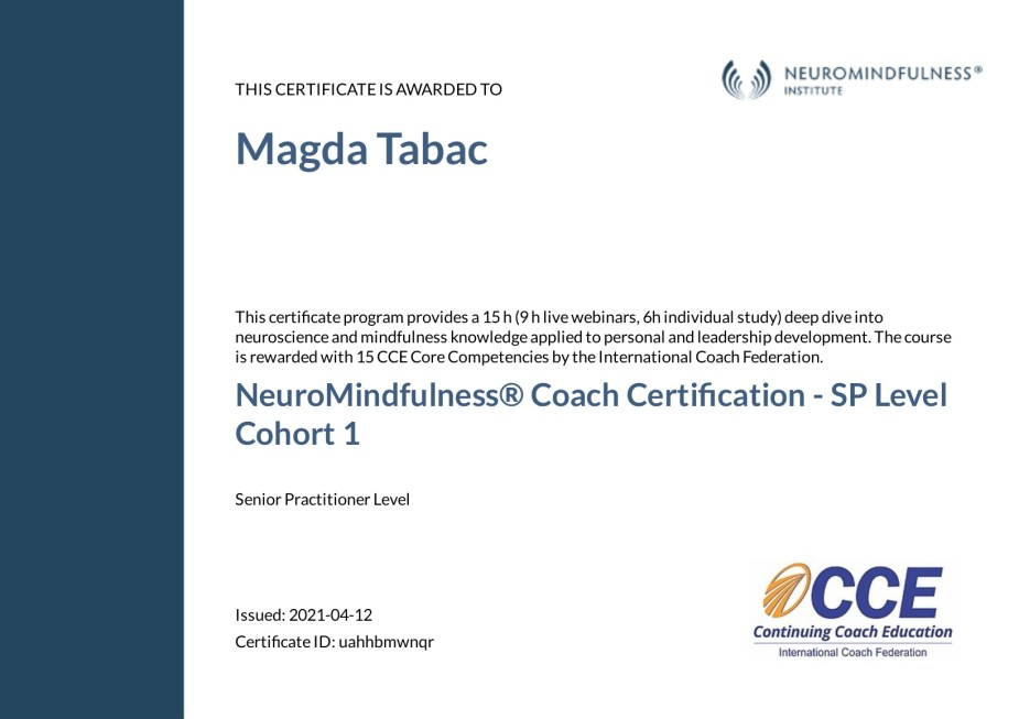 NeuroMindfulness Coach Certification Senior Practitioner Level Certificate Magda Tabac - Applied Neuroscience