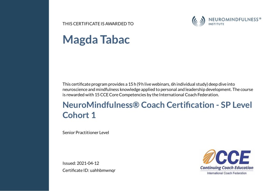 NeuroMindfulness Coach Certification Senior Practitioner Level Certificate Magda Tabac - About Me