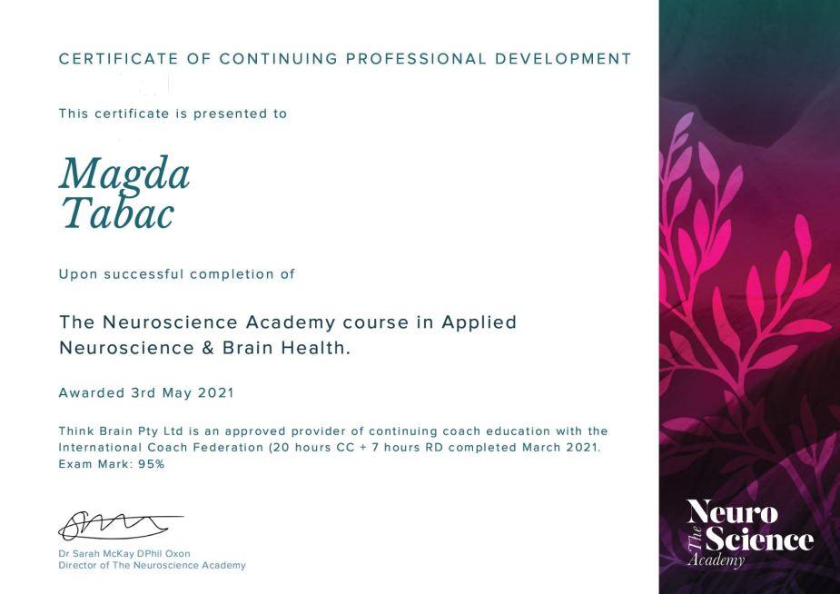 Neuroscience Academy Applied Neuroscience and Brain Health Certificate - Applied Neuroscience