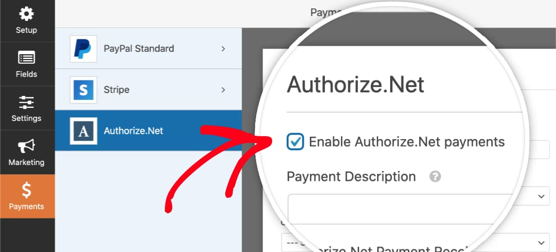 Enable Authorize.Net payments in form