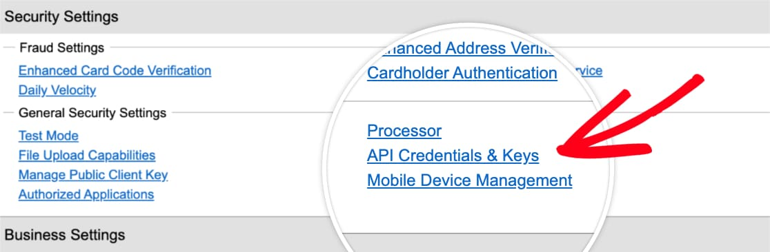 Open API Credentials and Keys page in Authorize.Net account