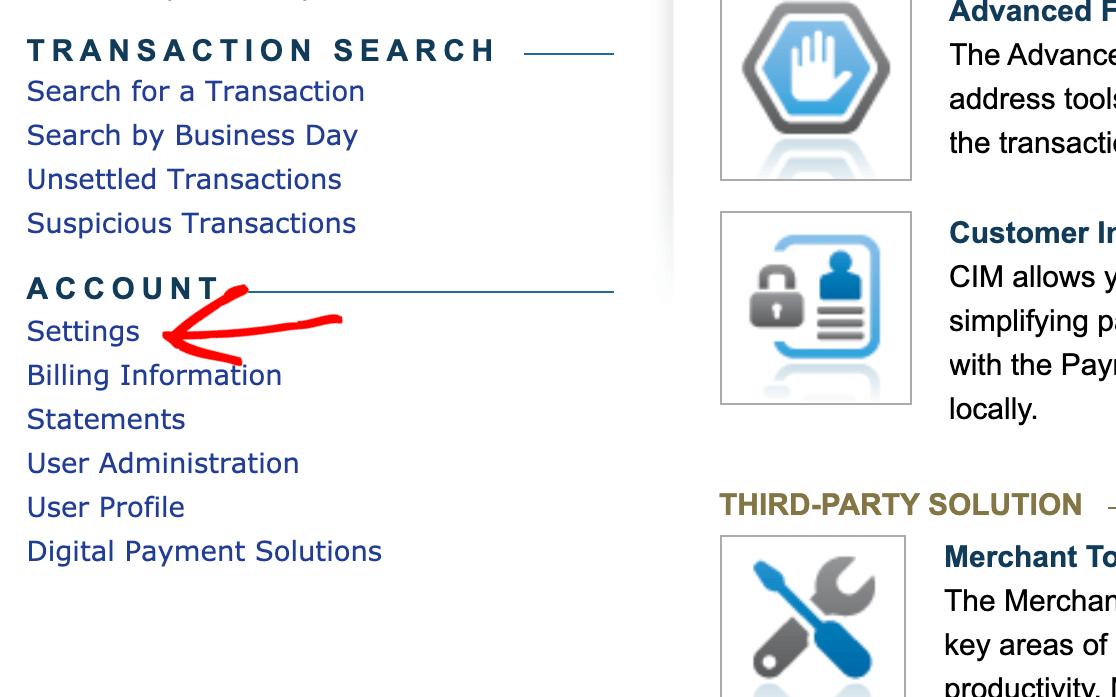 Authorize.Net account settings