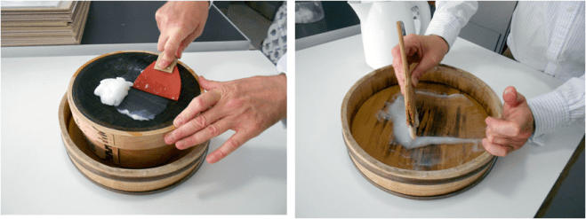 Preparation of wheat starch paste, which was used for lining.