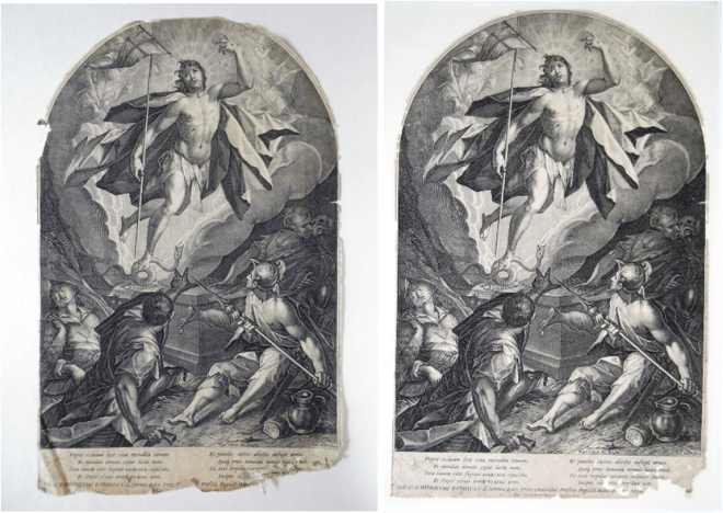 The Resurrection before and after conservation work, which included dry surface cleaning, float and immersion washing, lining and reattaching of fragmented text.