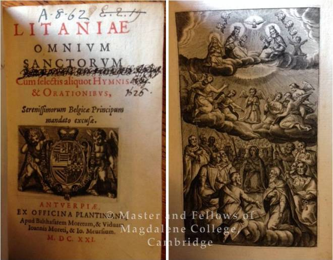 book Litaniae Omnium Sanctorum cum selectis aliquot Hymnis et Orationibus (1621).  Image © Master and Fellows of Magdalene College, Cambridge