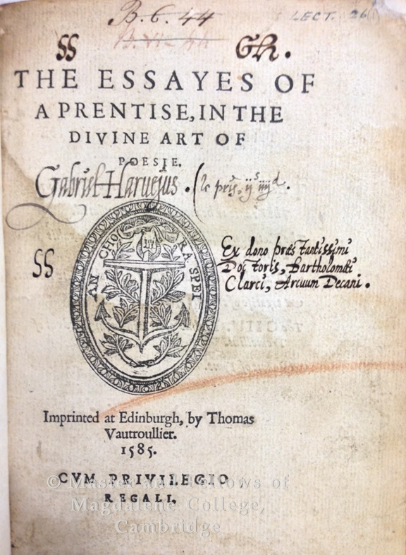 James I, King of England, 1566-1625. Essayes of a prentise, in the diuine art of poesie. Imprinted at Edinburgh : By Thomas Vautroullier, 1585.