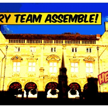 Library team assemble comic books style image of Pepys building