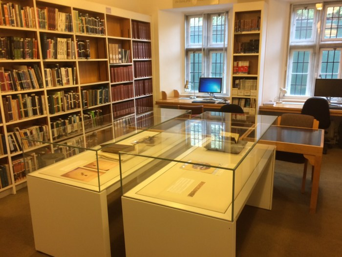 Photograph of Display cases in Middle Room, Left Cloister.