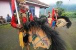 The Jaran Papat (four horses), a dance using horse-like-woven-bamboo, in Saparan celebration, in Mantran, Ngablak District, Magelang Regency, on Wednesday, January 8, 2014.