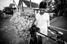 Budi, a ketupat pouch seller in Magelang, Central Java.