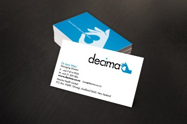 Decima Health business card portrait, two colours, black and blue, two-sided card design, symbol and name on front, symbol and positioning statement illustration on back
