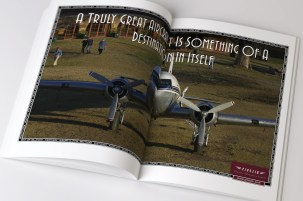 """Pionair, """"A Truly Great Aircraft is something of a destination in itself"""" Golden Era of Air Travel / Circumnavigation of Australia by Classic DC3 Airtour double page magazine advertisement. The third ad in a 3 ad campaign."""