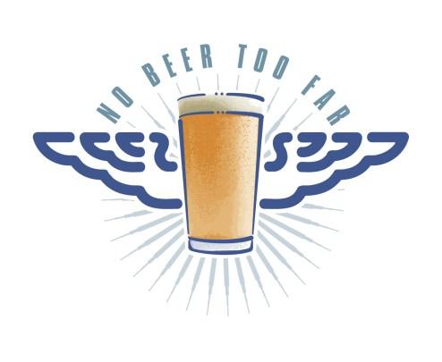 Wild Blue Airtours / Pomeroys 'No Beer Too Far' identity. Sub-brand of Wild Blue Airtours.
