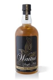 Bottle of Waitui Single Malt Manuka Honey Whiskey from Golden Bay, packaging design, illustrated logo, calligraphy, bottle on white background, consumer product, brands for New Zealand companies