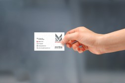 Hand-held MTC Equipment business card front. Full colour front full colour back.