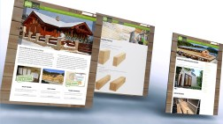Eurowood website showcase mockup displaying 3 different site page templates, the homepage, a product catalogue item page and the current projects news / blog page.