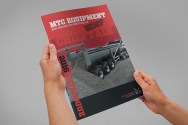 MTC equipment 2016 A4 brochure cover, hand held mock up, photorealistic visual