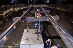TruLine Civil works against the clock to place a new 2.5m square culvert beneath main trunk railway on bed of the Otira River, Arthurs Pass.