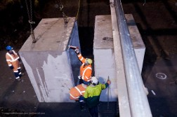 Application of caulking to the compression joint between the two mating concrete sections.