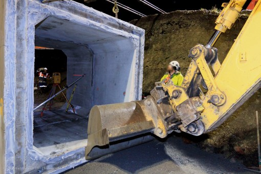 Careful fine adjustment of the culvert sections, lightly compresses the joint between the two mating concrete sections