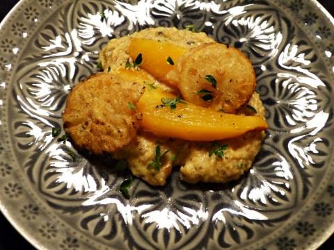 kürbis, buchweizenpolenta, zitronen-tempura