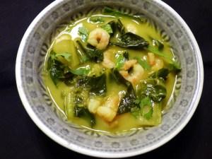 mangold, kokos, shrimps