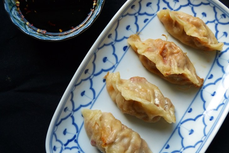 potstickers mit sauerkraut und chorizo