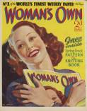 This is the cover for the relaunch of Woman's Own in 1937 as a colour weekly. Note this is a true self referential cover because the woman is holding a copy of the magazine she appears on!