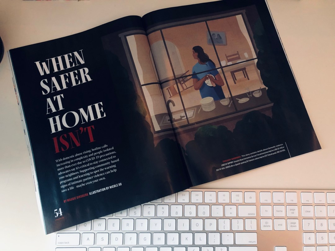 Magazine opened to page with article called When Safer at Home Isn't