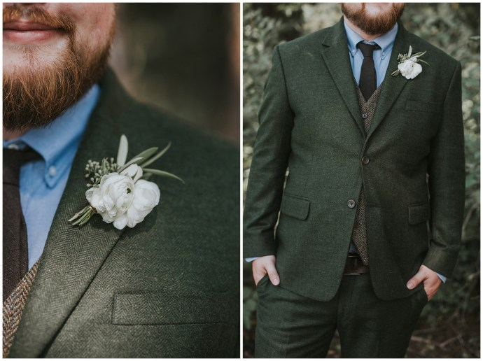 Green Suit Boho Groom Style