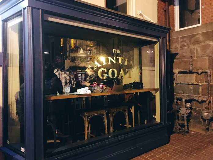 The Fainting Goat bar window