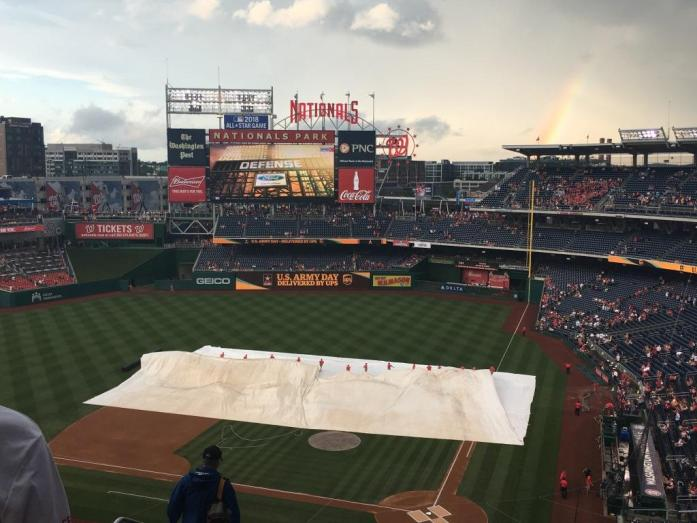 Tarp, grounds crew, rainbow, Nats