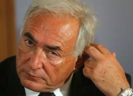 International Monetary Fund (IMF) Managing Director Strauss-Kahn listens during a news conference in Vienna