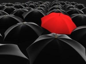 lone red umbrella