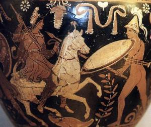 mounted Amazon vs Phrygian warrior