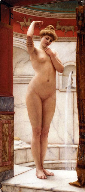 A Pompeian Bath by John William Godward (1909)