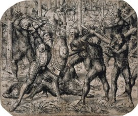 Knight Fighting Woodwoses by Lucas Cranach the Younger (c 1550)