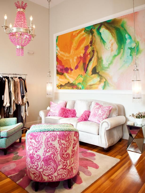 This room shows how a work of art can be your inspiration for your fabric choices. Photo via HGTV