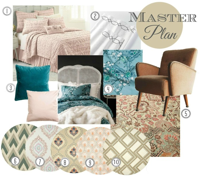 Aqua and Blush Master Bedroom
