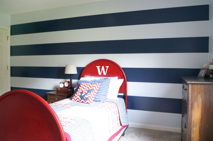 Boy's Room In Navy and Orange, and Painting Stripes.