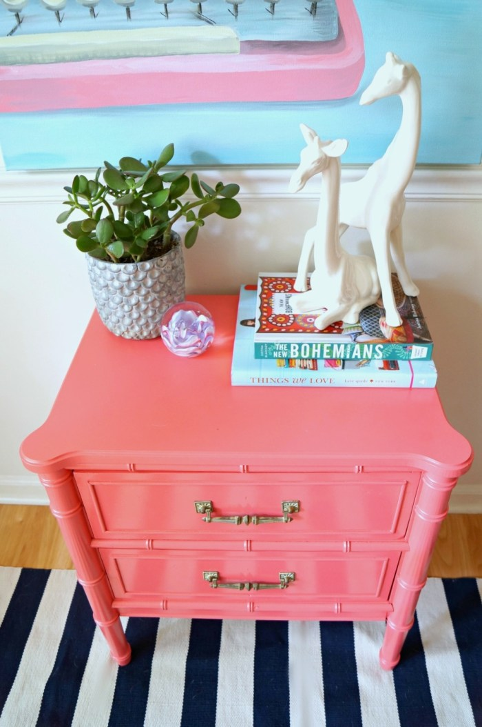 faux-bamboo-nightstand-makeover-diy-coral-pink-giraffe