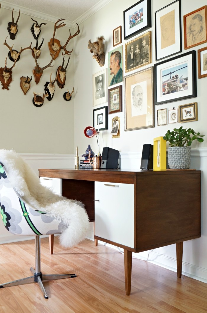 man-cave-desk-mid-century-tulip-chair-antlers