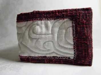 Handmade,quilted red and white card wallet
