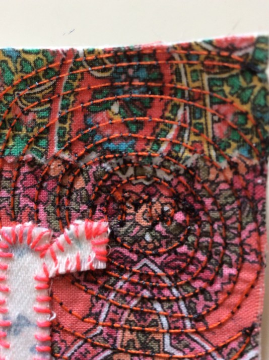 Machine and hand stitched art textile in Sewin Studio