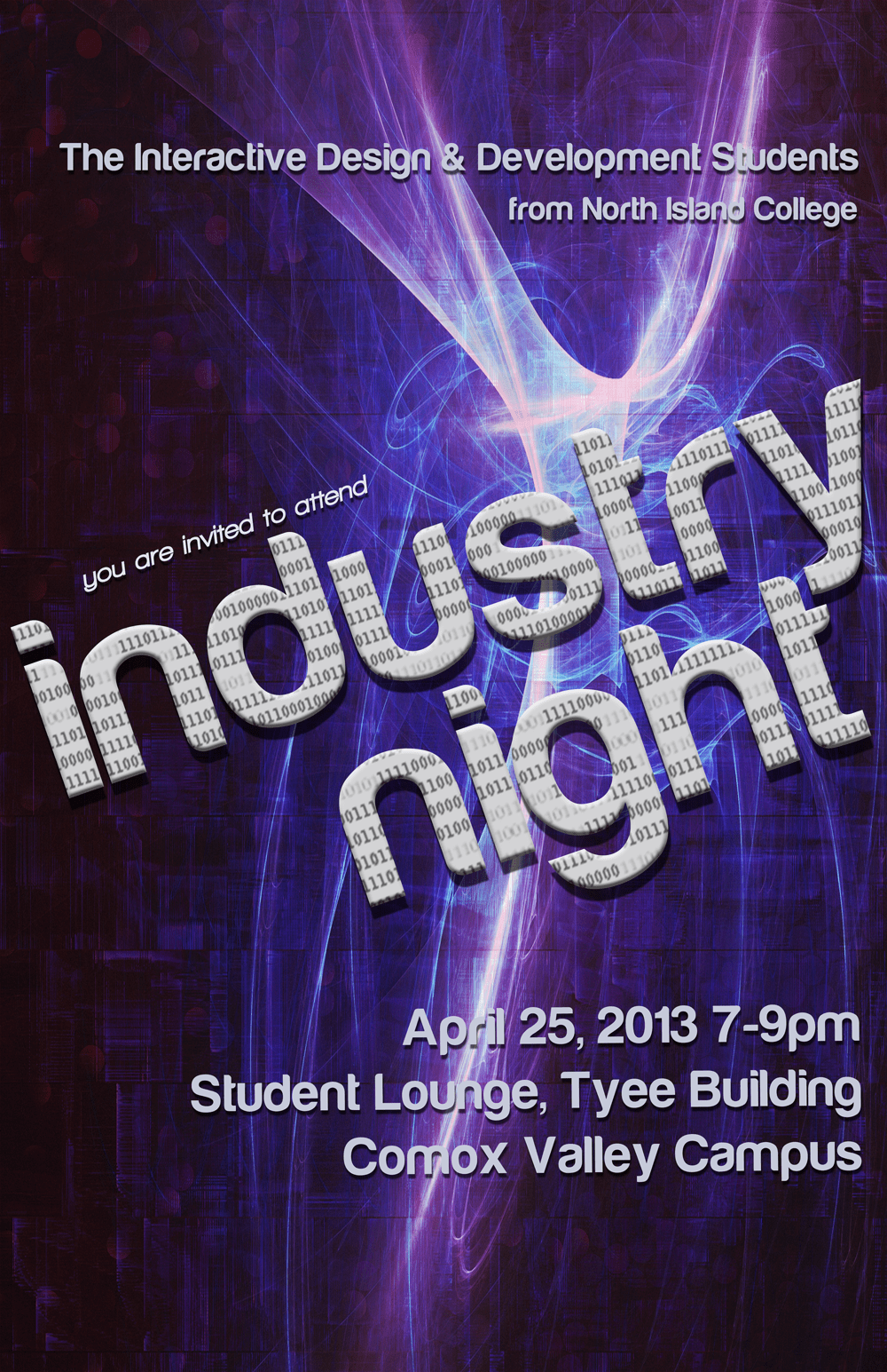 Industry night event poster designed by Maggie Ziegler