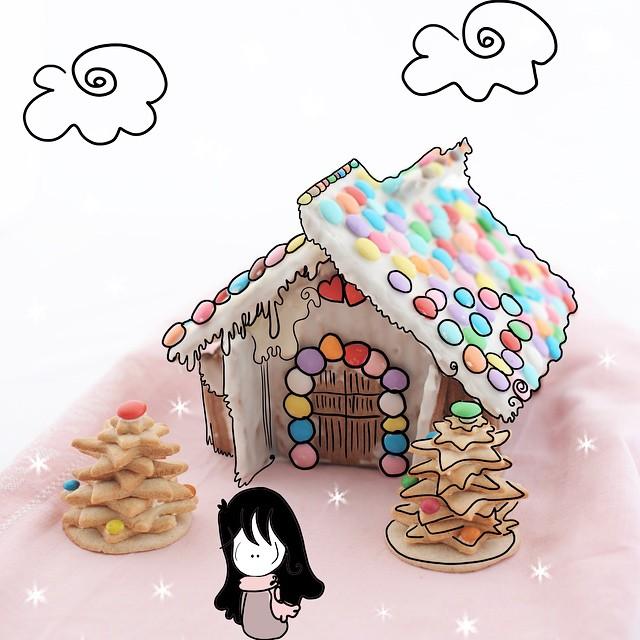 Casette con tetti fragili di caramelle