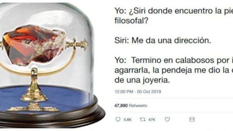 Le pide a Siri la piedra filosofal y acaba robando una joyería.