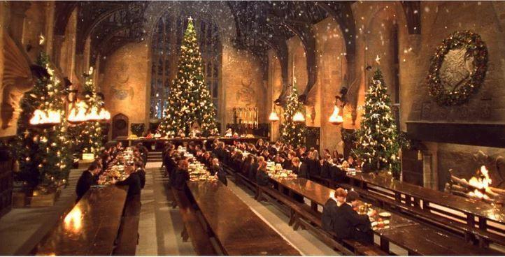 gran salon en navidad de harry potter