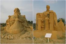 Bulgaria, city Burgas, Sandy figures, summer 2013